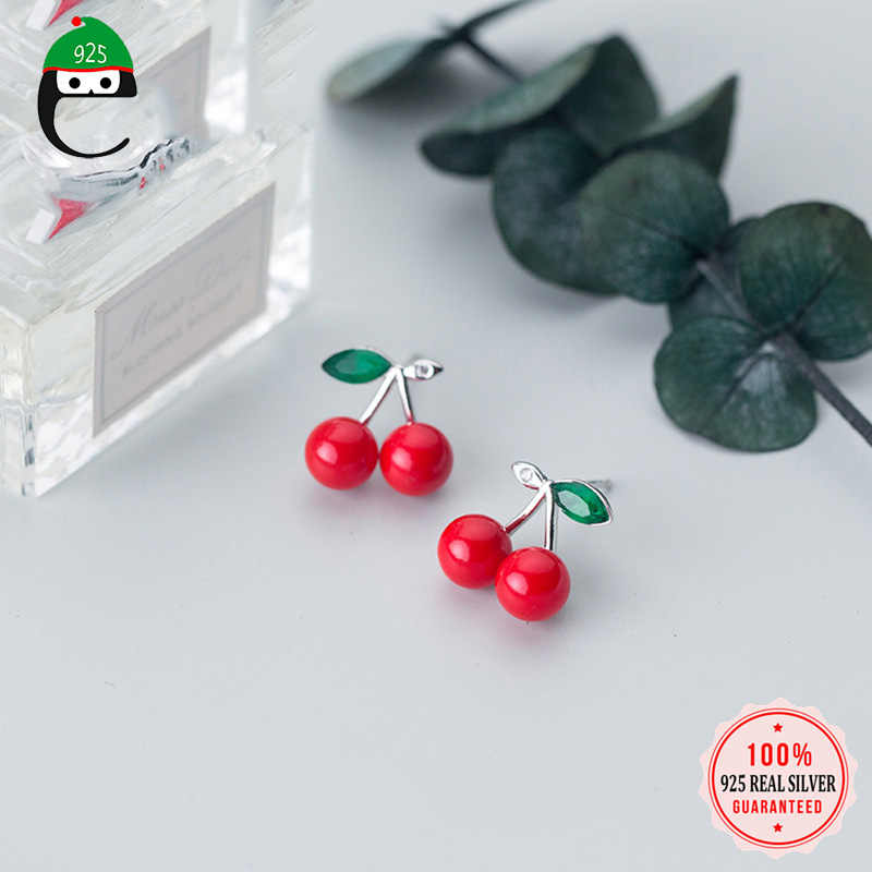 ElfoPlataSi 925 Solid Real Sterling Silver Cherry Red Synthetic Pearl With CZ Stud Earrings For Women Teen Girls Friend XY972