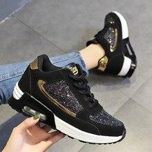 2019 moda kobiety obuwie wysokość zwiększenie trampki kobiety Glitter Sneakers platforma obuwie spacerowe zapatillas mujer