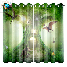 Living Room Curtains Luxury Green Psychedelic Tree House Decoration Bathroom Waterproof Window Curtain cortinas para la sala New