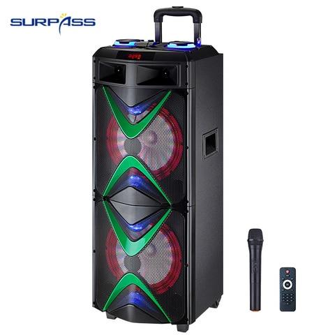 Festa ao ar Amplificador de Som Plástico de Madeira Livre Música Iluminação Ativo Áudio Duplo 10 Subsubsubwoofers Grande Potência Karaoke Alto-falante Pro Led