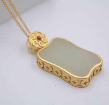 Sterling S925 Silver Pendant For Women Hetian Jade Rectangle Coin Gold Pendant Chain New Jewelry