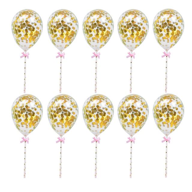 10/5 adet 5 inç Mini konfeti lateks balonlar için saman ile doğum günü düğün parti kek Topper süslemeleri bebek duş malzemeleri