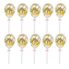 10/5 sztuk 5 cal Mini konfetti lateks balony z słomy na urodziny tort weselny Topper dekoracje Bady Shower dostaw
