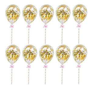 Image 1 - 10/5pcs 생일 웨딩 파티 케이크 토퍼 장식 Bady 샤워 용품에 대 한 빨 대와 5inch 미니 색종이 라텍스 풍선