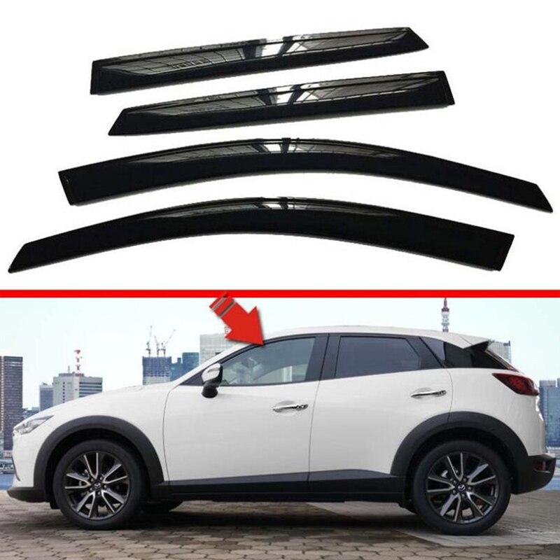 CEYUSOT For Mazda CX-3 Window Visor 4p Window Side Waterproof Decoration Shield Exterior Accessories Black Mazda CX3 2018 2019