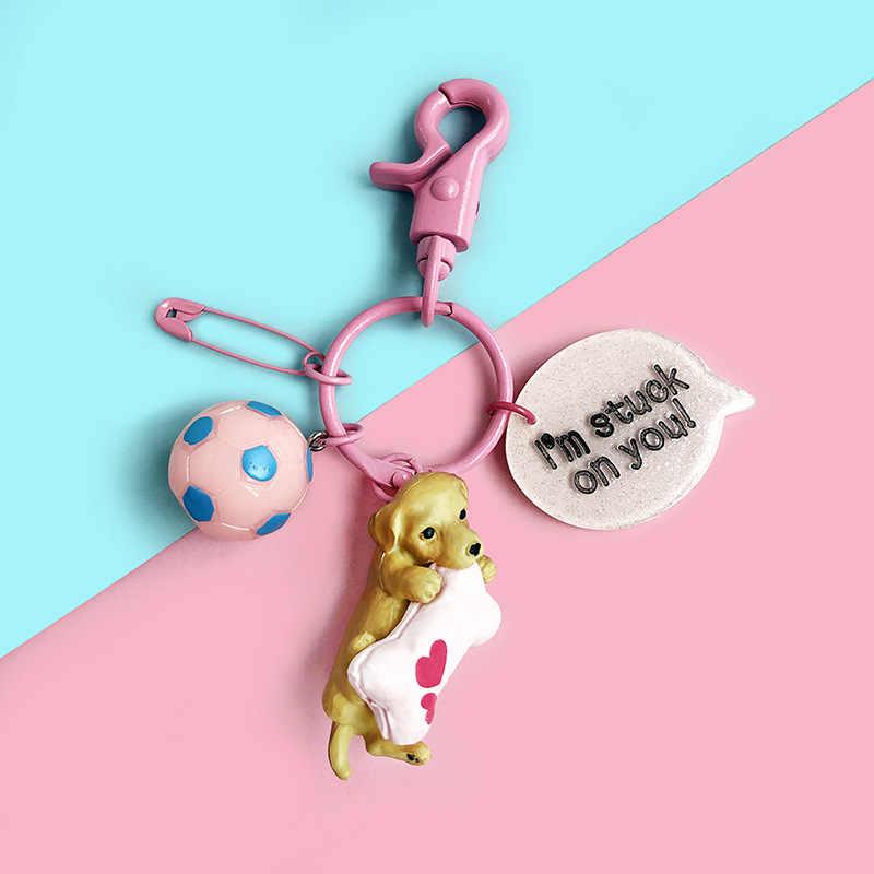 Mini Keychain ของเล่น Labrador Starling Chihuahua Corky สุนัขสีชมพูพวงกุญแจสำหรับกระเป๋าอะนิเมะรูปของเล่น PVC สำหรับกุญแจรถแหวน