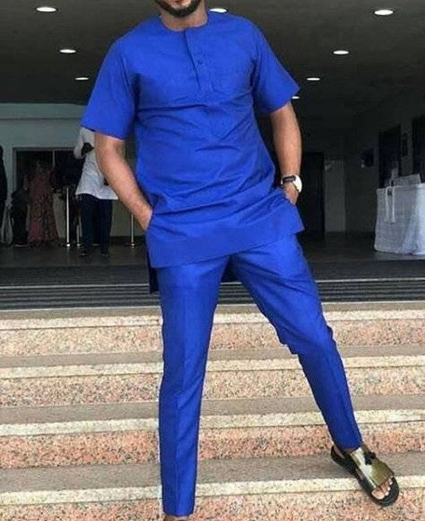 African Fashion Solid Men's Groom Suit Royal Blue Tops+Trousers Custom Made Man Short Sleeve Dashiki Shirt And Pant Sets