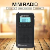 Retekess TR103 3Band FM/MW/SW mini Pocket Digital Tuning Radio MP3 Music Player TF card for gift with Rechargeable Battery