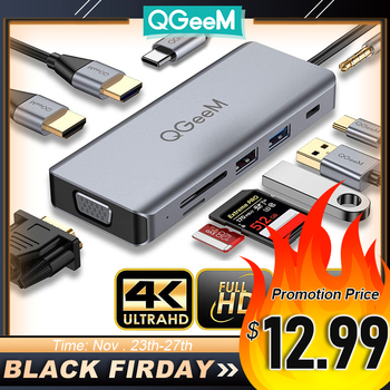 QGeeM USB C Hub for Macbook Pro Air Dual HDMI VGA Micro SD Card Readers Aux PD OTG Multi USB Hub 3.0 Type C Adapter for Notebook
