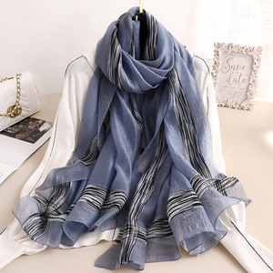 Image 2 - 2020 Solid Stripes Silk Scarf Women Soft Long Autumn Winter Scarves Fashion Shawls And Wraps High Quality Foulard Pashmina Hijab