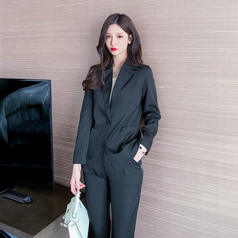 Black Women Suit Blazer 2 Piece Office Set Pants Notched Collar Single Breasted Pocket Elegant Fashion Buisness Formal Suits