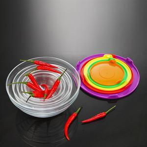 Image 5 - 5 uds. De vidrio resistente al calor conjunto de Boles para ensalada, cuenco fresco, recipiente de comida de cocina con tapa, Color aleatorio
