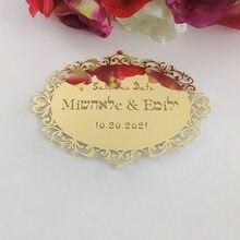 Personalisierte Acryl Spiegel Wand Aufkleber Gold/Silber Home Hotel Schild Hochzeit Geburtstag Baby Dusche Einladung Karte Als Gfits