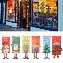 1pc Merry Christmas Santa Claus Banne Home Decor Party Supplies Favors Elk Snowman Window Hanging Door Ornament Festival Gifts(China)