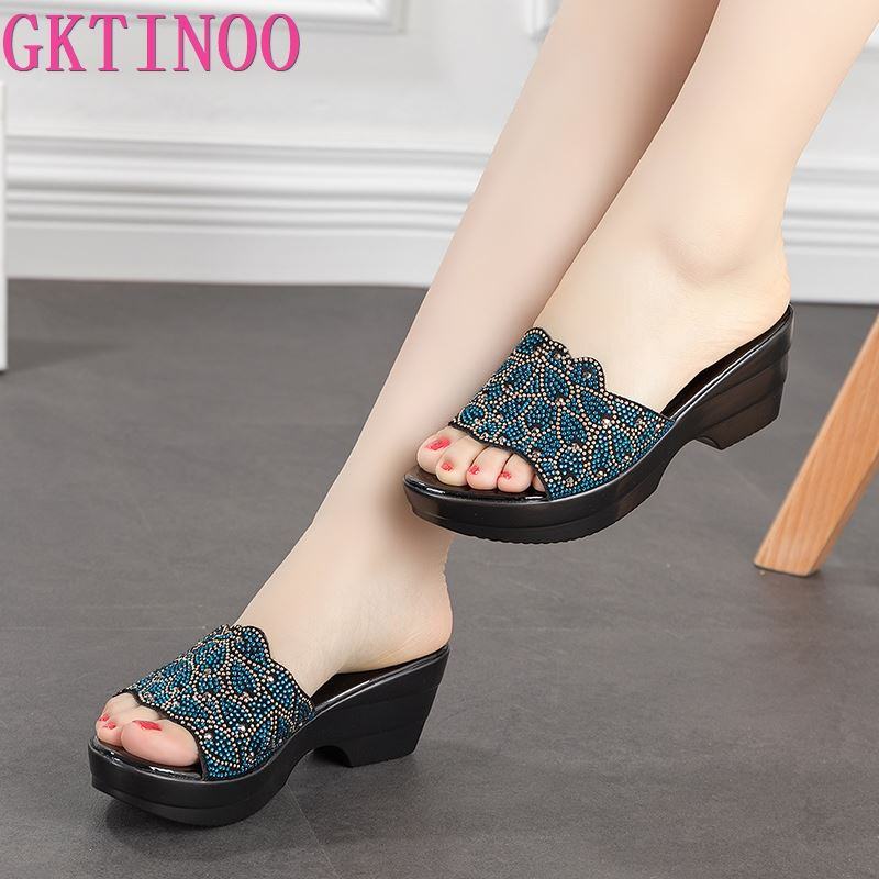 GKTINOO Large Size Women Sandals Summer 2020 Fashion Female Genuine Leather Slippers Middle - Aged Wedge Shoes Mother Slippers