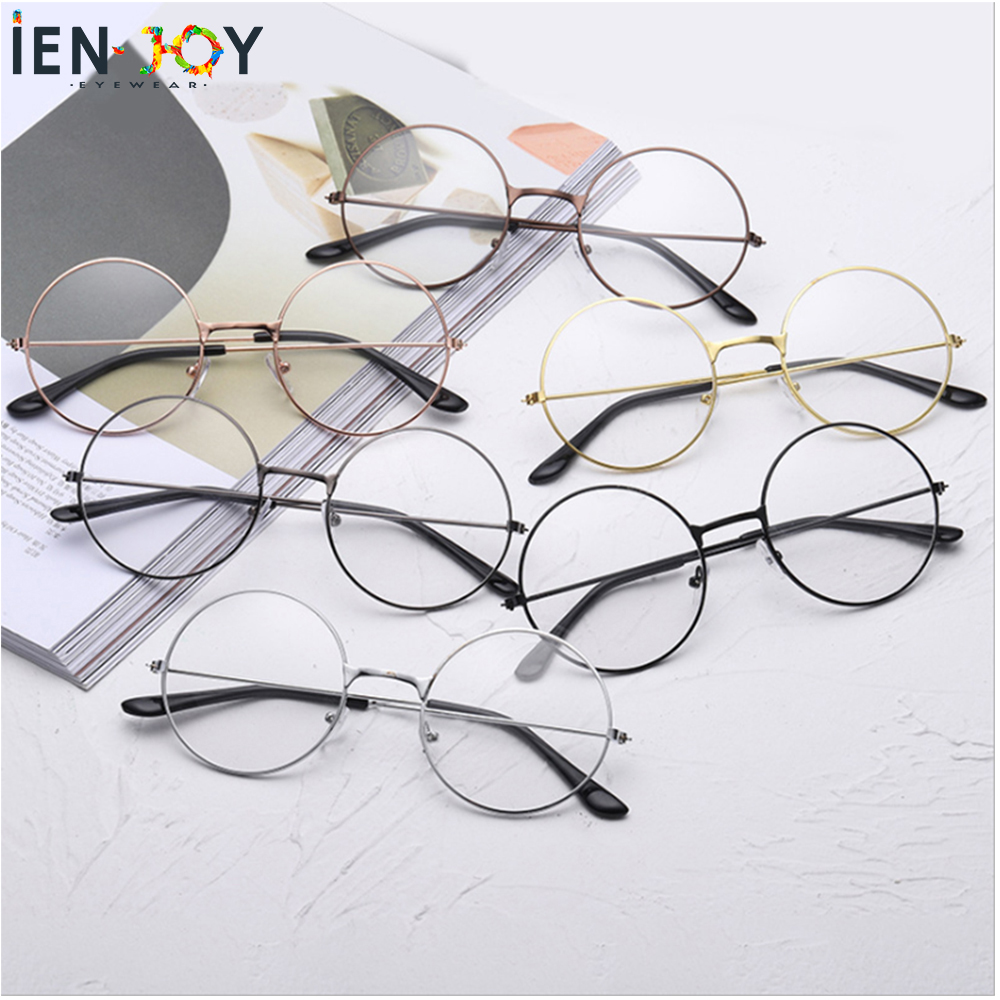 IENJOY Harry Eyeglasses Frames Vintage Retro Metal Frame Clear Glasses Black Oversized Round Circle Eye Glasses Fashion Eyewear