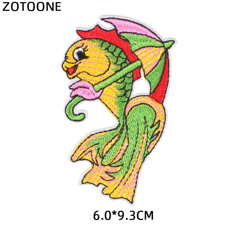 ZOTOONE Colorful Fish Patch Cute Embroidered Iron Sew on Clothes Bag Jeans Badge Embroidery Applique Patches for Clothes Sticker in Patches from Home Garden