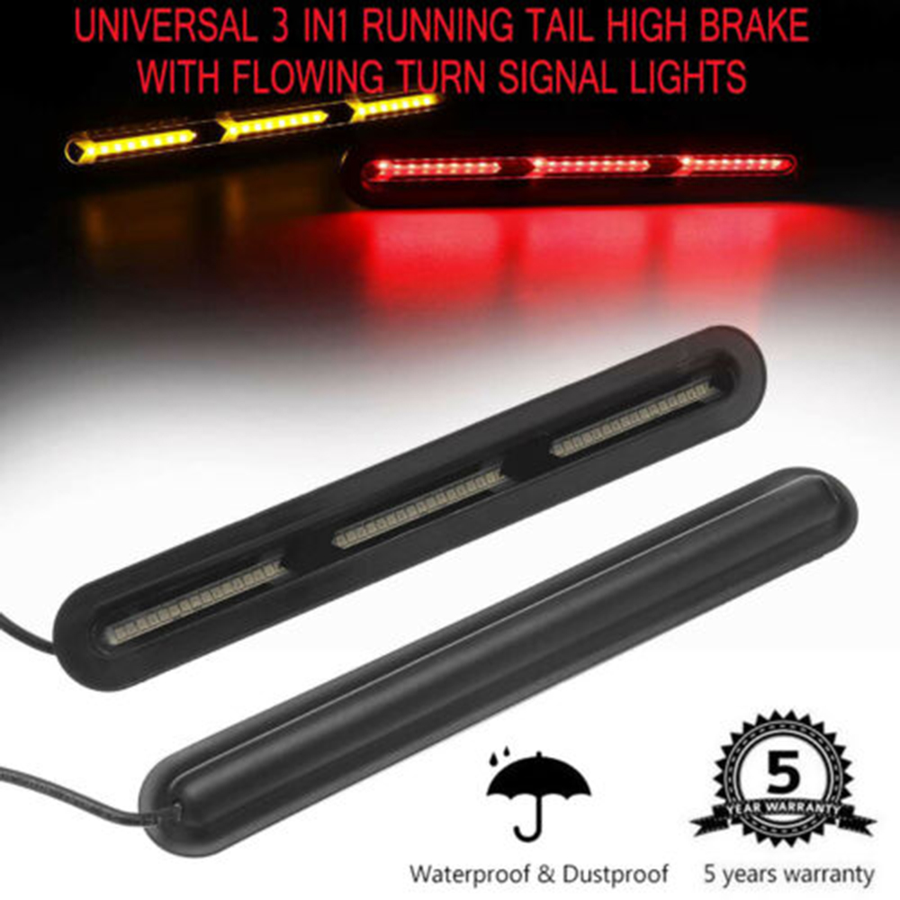 1 Pair 120LED Tail light high brake red/yellow Dual Color Fish Bone Style DRL Stop Flowing Turn Signal Light