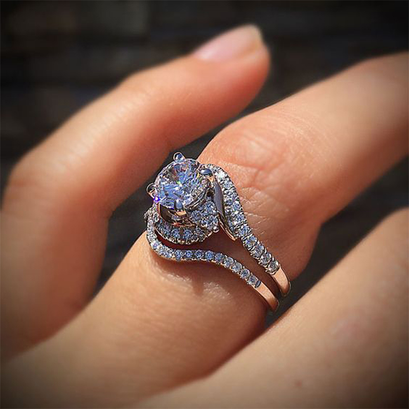 Huitan Romantic Bridal Sets Women Finger Ring Wedding Rings Formal Dancing Party Accessories Micro Paved Crystal Zircon 2PC Ring