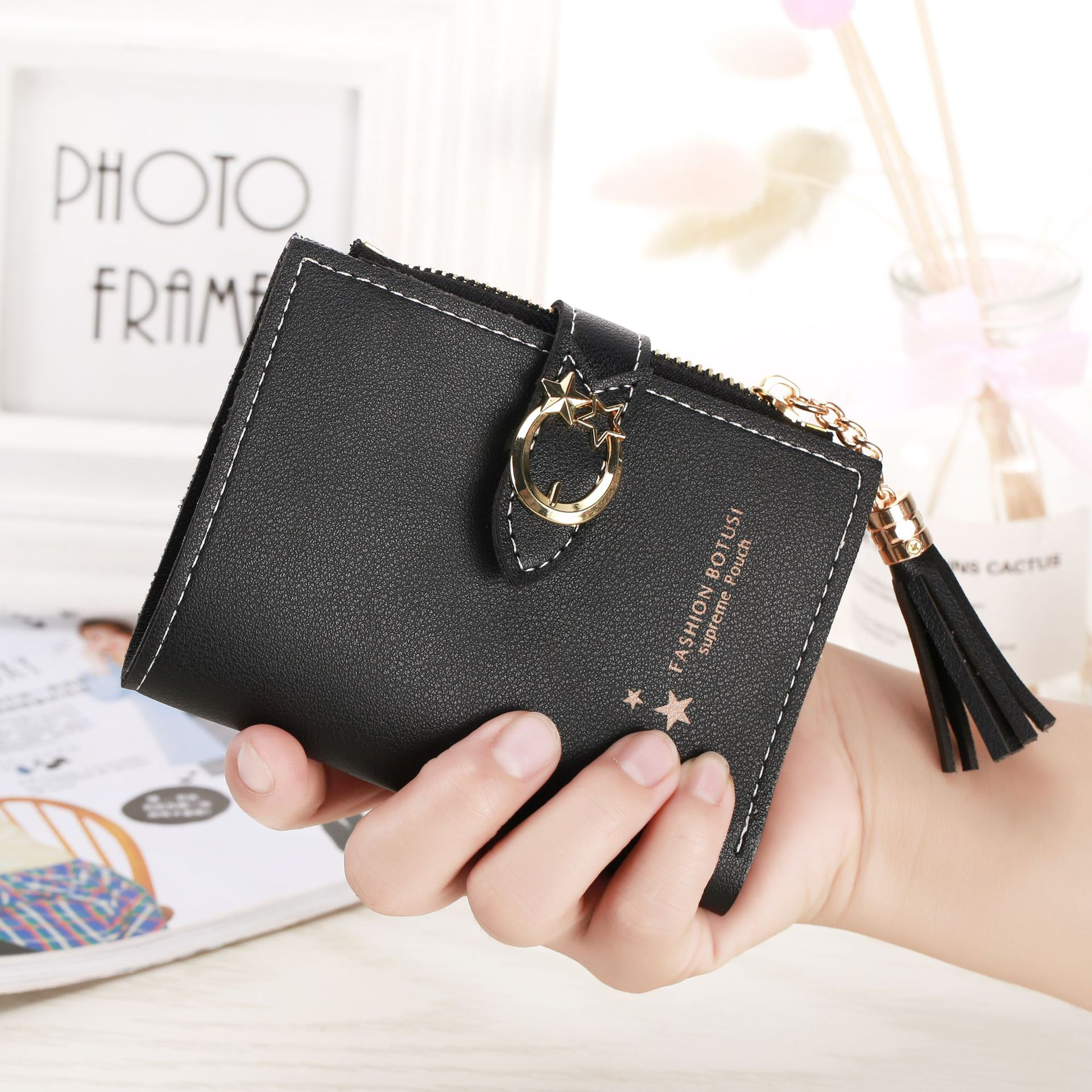 Women Men Solid Color RFID Short Wallet Change Purse Coin Zipper Bag Card Holder