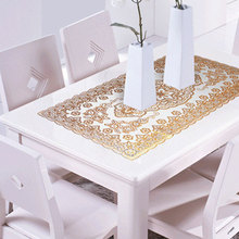 Tablecloth Plastic PVC Waterproof Oilproof Dining Bronzing Printed Table Cover Mat New