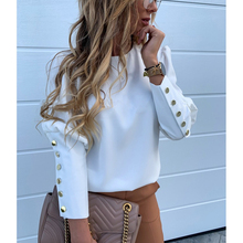 Women Clothing Solid O Neck Buttons Elegant Casual Blouse Office Ladies Plus Siz