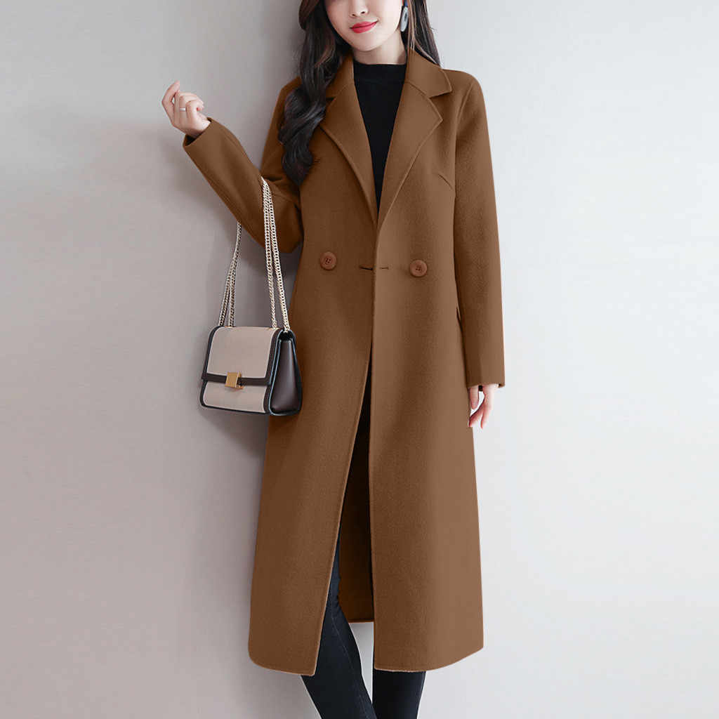 Women Casual Outerwear Overcoat Autumn winter Jacket Fashion Long Woolen Coat Female Elegant Long Sleeve Work Office Coats #907