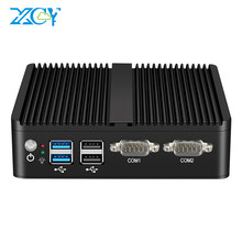 XCY Fanless Mini PC Intel Celeron J4125 Quad-Cores Dual NIC Gigabit Ethernet 2x RS-232 Serial Ports 4x USB Embedded IPC