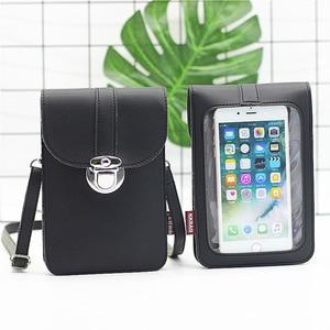2020 New Antivirus Single Shoulder Belt Women Phone Wallet Touch Screen Transparent Membrane PU Leather Messenger Phone Purse(China)