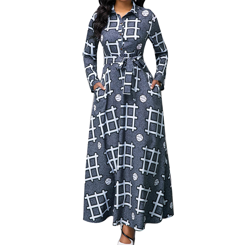 Vintage Print Ball Gown Maxi Dresses Women 2020 Spring Summer Casual Plus Size Long Sleeve Elegant Slim Bandage Long Party Dress
