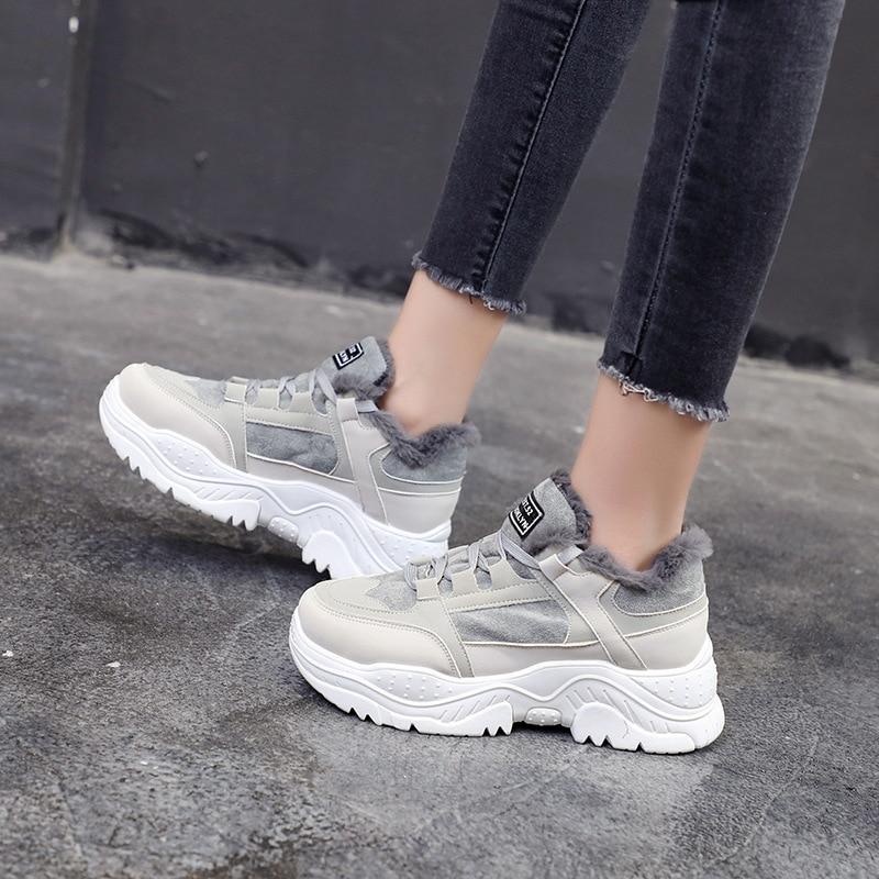 Sneakers For Women 2020 Tennis Shoes Warm Short Plush Lace Up Platform Woman Comfort Vulcanzied Female Sport Women