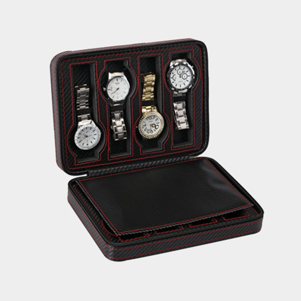 8 Grids PU Leather Watch Box Storage Watches Display Case Tray Zippere Portable Travel Jewelry Watch Collector Case|Watch Boxes| |  - title=