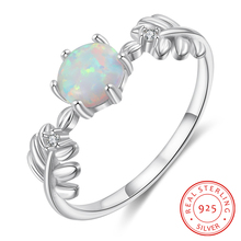 Real 925 Sterling Silver Leaf Ring Round White Opal Ring with Zircon Female Finger Rings Summer Jewelry Wedding Gift for Women slovecabin real 925 sterling silver link chain lock finger rings for women vintage napkin wedding rings for women bijoux female