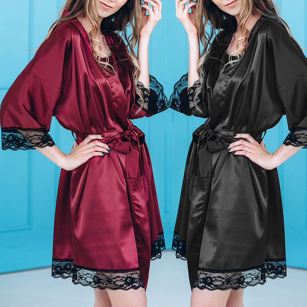 Women Sexy Black Silk Satin Kimono Robe Lace Lingerie Bodydoll Sleepwear Bathrobe Szlafrok Bridesmaid Robes Peignoir Femme