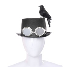 Halloween DIY Party Assembly Retro Steampunk Hat With Goggles, Gears, Black Crow Bird Costume Accessories