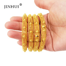 Bracelet Gold color Bangles Jewelry for Women Dubai African indian Ethiopian bangle love viking bridal wedding Gifts Bracelets(China)