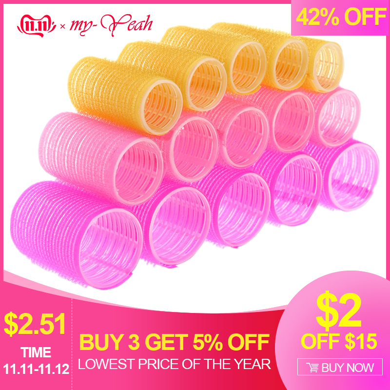 15pcs/lot 3 Size Hairdressing Home Use DIY Magic Large Self-Adhesive Hair Rollers Styling Roller Roll Curler Beauty Tool