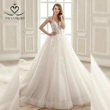 Sevgiliye boncuklu düğün elbisesi 2020 Swanskirt aplike tül balo şapel tren gelin kıyafeti prenses vestido de noiva SZ08