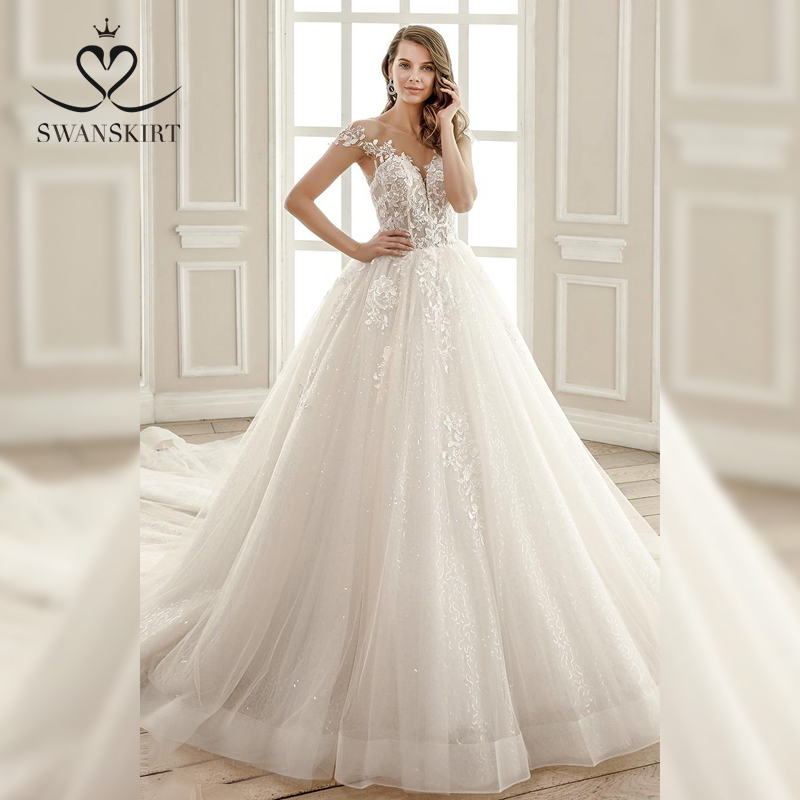 Sweetheart Beaded Wedding Dress 2019 Swanskirt Applique Tulle Ball Gown Chapel Train Bridal Gown Princess vestido de noiva SZ08