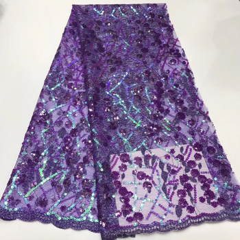 2020 Purple Sequins Lace Fabric High Quality Latest African Lace Fabric Wedding Tulle Lace Fabric French Nigerian Lace KJY9028