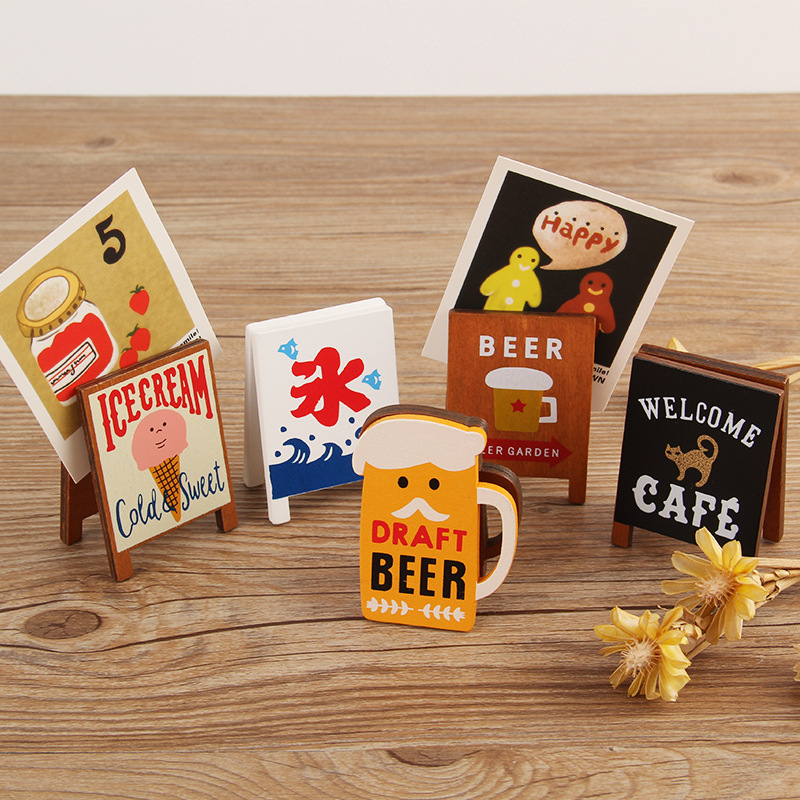 Wooden Cute Cat Poster Photo Card Holder Memo Name Note Clip Desktop Message Number Stand Display