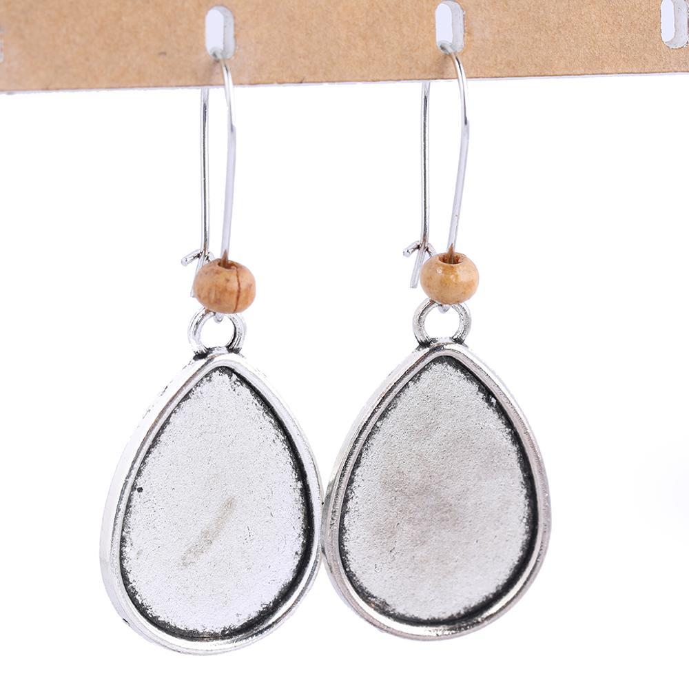 10pcs Antique Silver Dangle Teardrop Earring Base Blanks 18x25mm Cabochon Setting Bezel Trays Diy Supplies For Earrings Jewelry