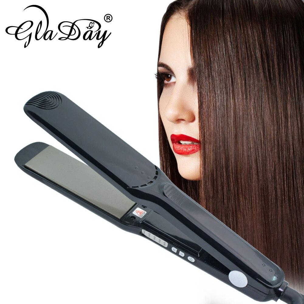 Güzellik ve Sağlık'ten null'de Saç düzleştirici ütüler hızlı isı Up 230 derece profesyonel titanyum ısıtma plakası saç düzleştirici saç düzleştirici title=