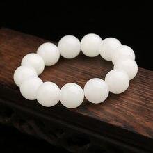 New Natural Stone Nephrite Jade Beads Bracelet White Jades Beaded Bracelet For Women Men Fine Jewelry Gifts A0030