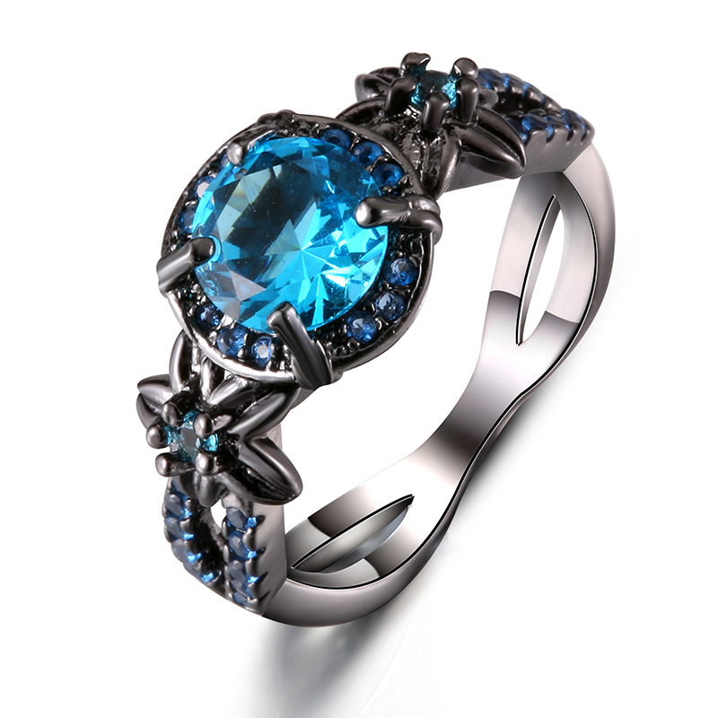 Black Gun Plated Natural Crystal Birthstone Women Rings Geometric Opal Druzy Rings For Party Wedding Gift 11 Colors 2