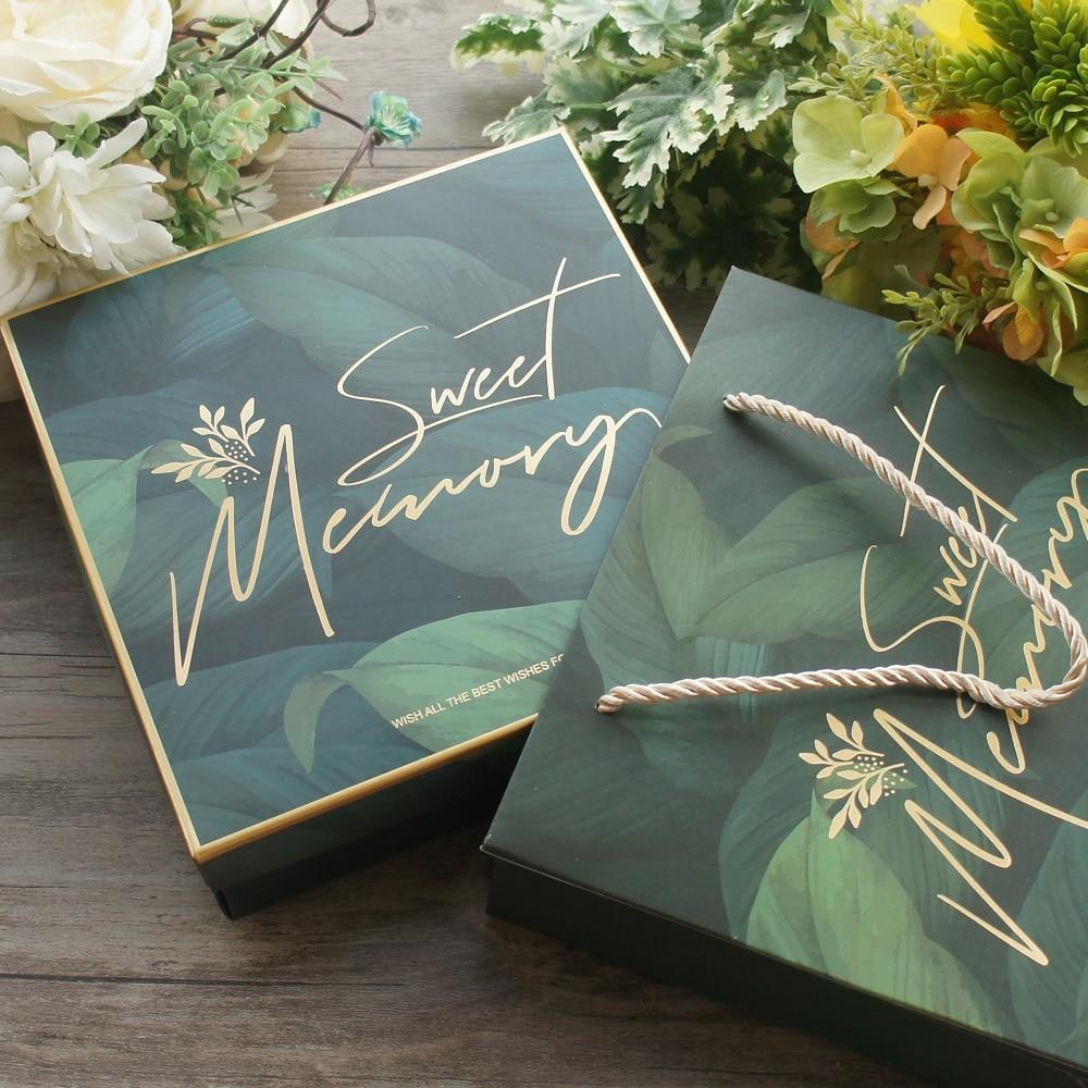 18.5*18.5*6cm 3set Deep Green Leaves Gold Sweet Memory Design Paper Box + Bag As Baby Shower Birthday Wedding Gift Packaging Use
