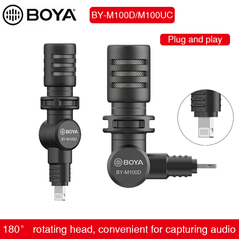 BOYA BY-M100 Plug-in Miniature Microphone MFI Certificated Lightning Connector for iPhone iPad smartphone Audio Video Recording