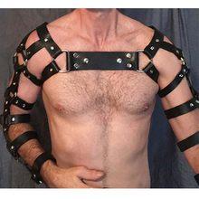 Erotyczne zbiornik bielizna PU uprząż BDSM Gay Body do Bondage uprząż mężczyźni fetysz PU skóra seksualny pas na klatkę piersiową pasek Punk Rave kostiumy