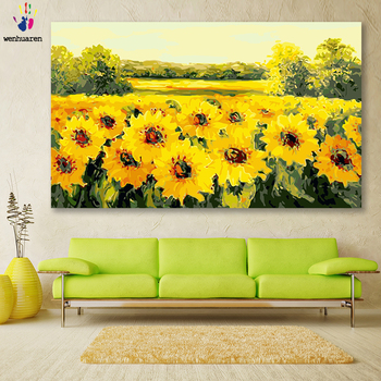 DIY colorings pictures by numbers with colors Sunflower flower field picture drawing painting framed Home