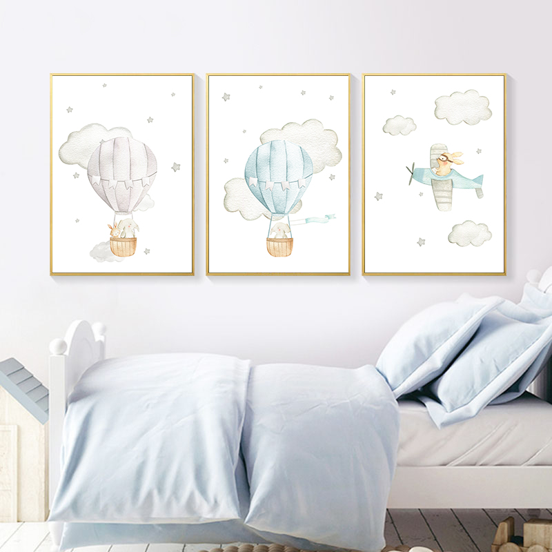 Animal Balloon Airplane Car Child Poster Nursery Canvas Print Wall Art Painting Nordic Kids Decoration Picture Baby Room Decor image